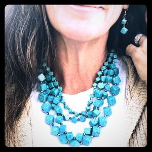 Turquoise multi strand necklace and earring set